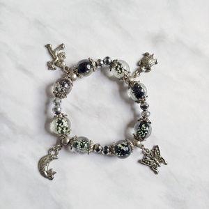 Jewelry - Glow In Dark Silver Metal Dangling Charm Bracelet